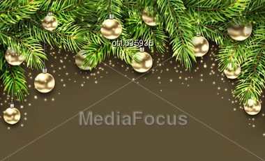 Illustration Christmas Holiday Background With Fir Twigs And Golden Glass Balls - Vector Stock Photo