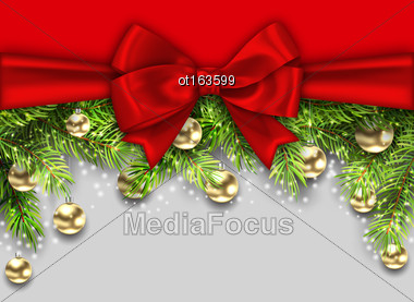 Illustration Christmas Holiday Background With Fir Twigs And Golden Glass Balls, Copy Space For Your Message - Vector Stock Photo
