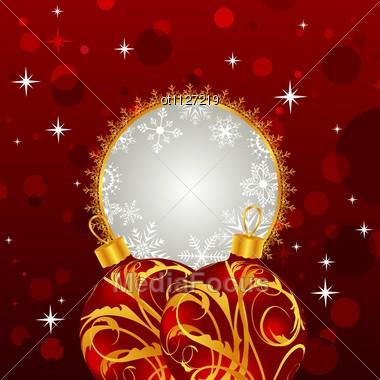 Christmas Invitation With Balls Stock Photo