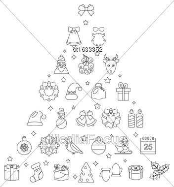 Illustration Christmas Line Traditional Symbols, Simple Outline Style - Vector Stock Photo