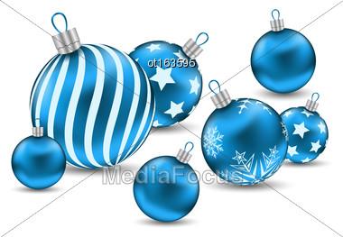 Illustration Christmas Ornamental Blue Balls On White Background - Vector Stock Photo