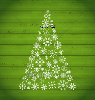 Illustration Christmas Pine Made Of Snowflakes On Wooden Background - Vector Stock Photo