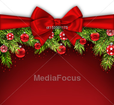 Illustration Christmas Postcard With Bow Ribbon, Fir Twigs, Glass Balls, Copy Space For Your Text - Vector Stock Photo