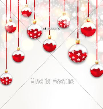 Illustration Christmas Red Glassy Balls On Shimmering Light Background - Vector Stock Photo
