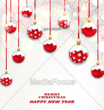Illustration Christmas Red Glassy Balls On Shimmering Light Background, Happy New Year Banner - Vector Stock Photo