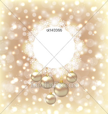 Illustration Christmas Round Frame Made In Snowflakes And Golden Balls On Beige Glowing Background - Vector Stock Photo