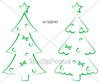 Illustration Christmas Set Trees With Decoration, Stylized Hand Drawn - Vector Stock Photo