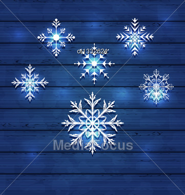 Illustration Christmas Set Variation Snowflakes On Wooden Background - Vector Stock Photo
