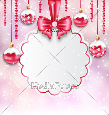 Illustration Christmas Silver Glassy Balls With Clean Card With Bow Ribbon, Magic Light Background - Vector Stock Photo