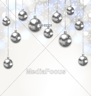 Illustration Christmas Silver Glassy Balls On Magic Light Background - Vector Stock Photo