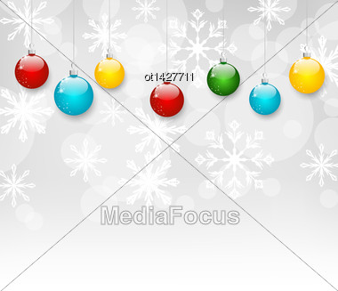 Illustration Christmas Snowflakes Background With Set Colorful Balls - Vector Stock Photo