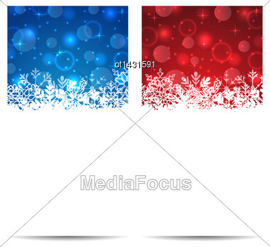 Illustration Christmas Snowflakes Banners With Light Effect - Vector Stock Photo