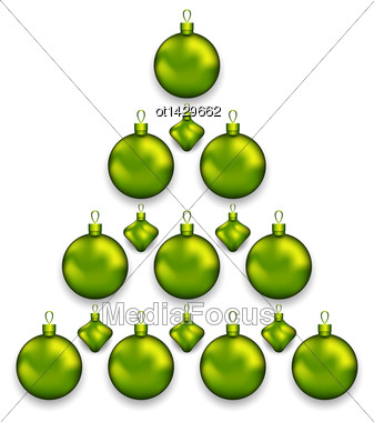 Illustration Christmas Tree Made Of Glass Balls, Isolated On White Background - Vector Stock Photo