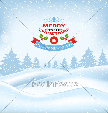 Illustration Christmas Winter Card For Merry Christmas And Happy New Year, Nature Landscape - Vector Stock Photo