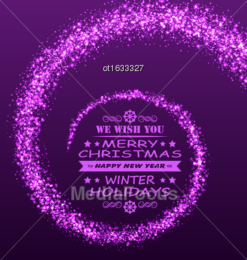 Illustration Christmas Wishes With Magic Dust. Purple Glitter Background - Vector Stock Photo