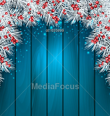 Illustration Christmas Wooden Background With Fir Tree Twigs, Glowing Banner For Happy New Year - Vector Stock Photo