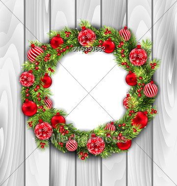 Illustration Christmas Wreath With Balls, New Year And Christmas Decoration, On Wooden Background - Vector Stock Photo