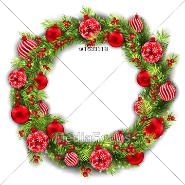 Illustration Christmas Wreath With Balls, New Year And Christmas Decoration, On White Background - Vector Stock Photo