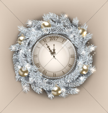 Illustration Christmas Wreath With Clock And Golden Balls For Happy New Year 2017, Decoration Made In Silver Twigs - Vector Stock Photo