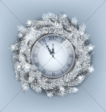 Illustration Christmas Wreath With Clock For Happy New Year 2017, Decoration Made In Silver Twigs - Vector Stock Photo