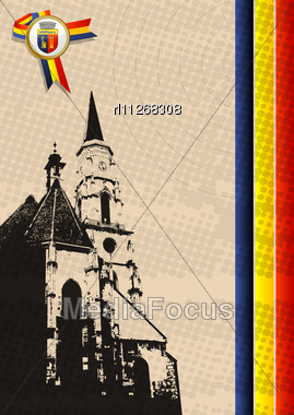 Church Of Saint Michael In Cluj Napoca,Romania And The Coat Of Arms Of The City Stock Photo