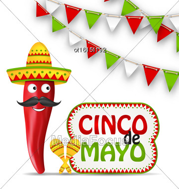 Illustration Cinco De Mayo Holiday Background With Cartoon Character Of Chili Pepper, Sombrero Hat, Maracas, Bunting Decoration With Traditional Mexican Color - Vector Stock Photo