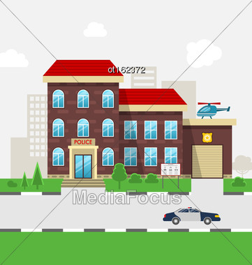 Illustration City Police Station Department Building In Landscape With Police Car, Cityscape - Vector Stock Photo