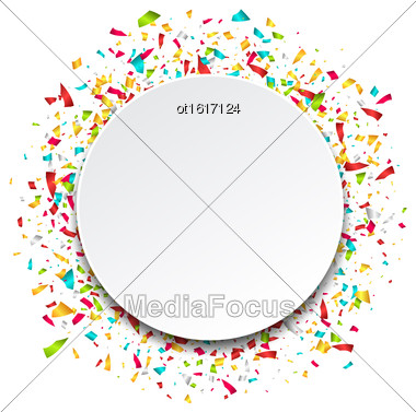Illustration Clean Card With Colorful Explosion Of Confetti - Vector Stock Photo