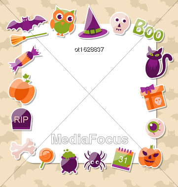 Illustration Clean Card With Colorful Halloween Flat Icons - Vector Stock Photo