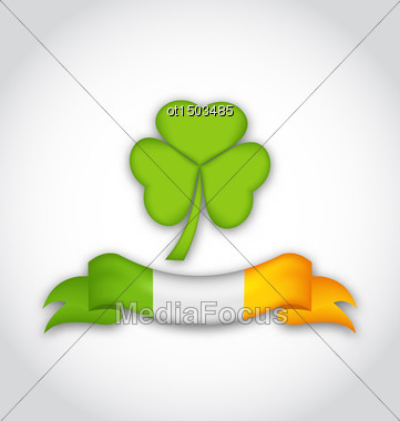 Illustration Clover With Ribbon In Traditional Irish Flag Colors For St. Patrick's Day - Vector Stock Photo