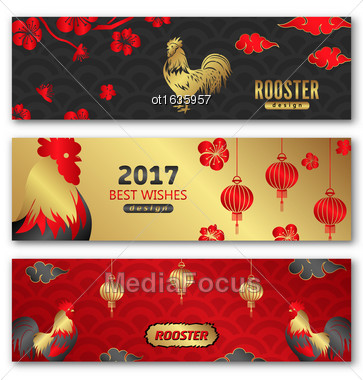 Illustration Collection Banners For Chinese New Year Roosters, Blossom Sakura Flowers, Lanterns. Templates For Design Greeting Cards, Invitations, Flyers Etc. - Vector Stock Photo
