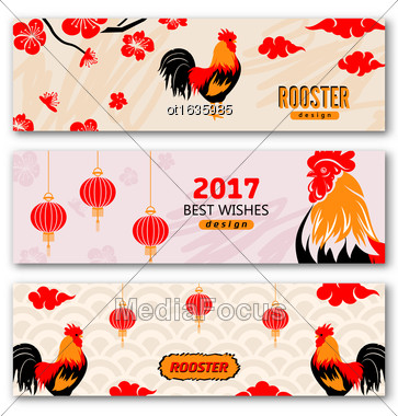 Illustration Collection Banners With Chinese New Year Roosters, Blossom Sakura Flowers, Lanterns. Templates For Design Greeting Cards, Invitations, Flyers Etc. - Vector Stock Photo