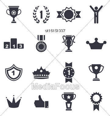 Illustration Collection Colorful Awards Icons Isolated On White Background - Vector Stock Photo