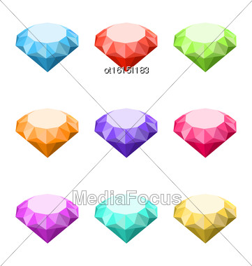 Illustration Collection Colorful Diamonds Isolated On White Background - Vector Stock Photo