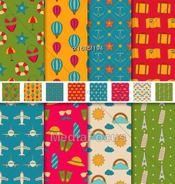 Illustration Collection Colorful Seamless Wallpapers Or Backgrounds Travel, Summer, Vacation, Famous Places - Vector Stock Photo