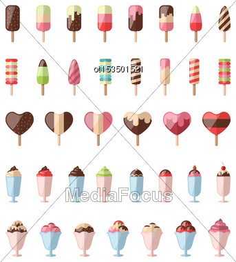 Illustration Collection Different Colorful Ice Creams Isolated On White Background- Vector Stock Photo
