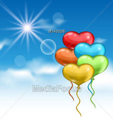 Illustration Collection Glossy Colorful Hearts Balloons For Valentine Day In The Blue Sky- Vector Stock Photo