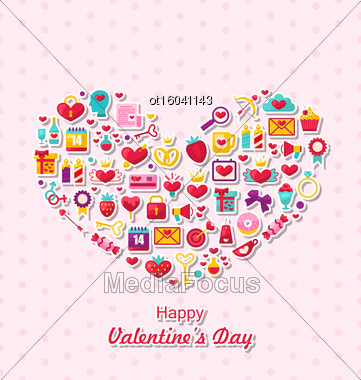Illustration Collection Of Modern Flat Design Icons For Happy Valentine's Day, Romantic Symbols Arranged In Form Of Heart - Vector Stock Photo
