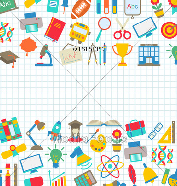 Illustration Collection Of School Colorful Icons, Wallpaper For School - Vector Stock Photo