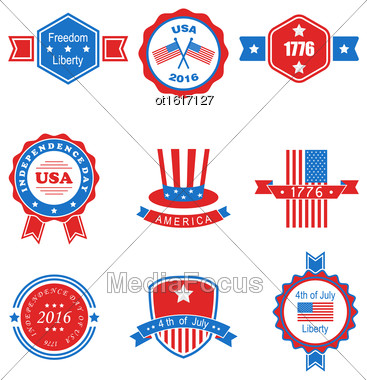 Illustration Collection Of Various Graphics Objects And Labels, Emblems, Symbols, Icons And Badges For Independence Day Of USA. Templates And Design Elements. Isolated On White Background - Vector Stock Photo