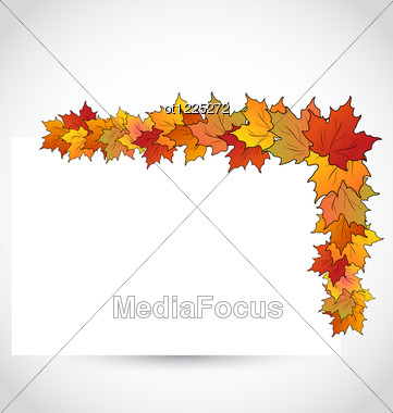 Colorful Autumn Maple Leaves With Note Paper Stock Photo