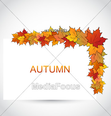Illustration Colorful Autumn Maple Leaves With Note Paper - Vector Stock Photo