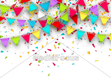 Illustration Colorful Background With Hanging Bunting And Confetti For Your Party - Vector Stock Photo