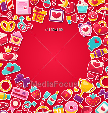 Illustration Colorful Background For Valentine's Day. Flat Valentine Icons, Lock And Key, Gift Box, Candles, Sweet Cupcake, Rings - Vector Stock Photo