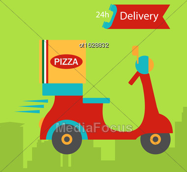 Illustration Colorful Banner Pizza Delivery With Pizza Box And Scooter - Vector Stock Photo
