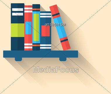 Illustration Colorful Different Books On The Shelf With Long Shadows, Minimal Flat Icons - Vector Stock Photo