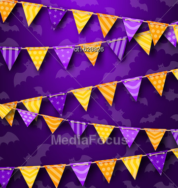 Illustration Colorful Hanging Bunting For Holiday Party, Cute Decoration - Vector Stock Photo