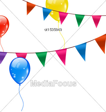 Illustration Colorful Hanging Buntings Pennants And Flying Balloons - Vector Stock Photo