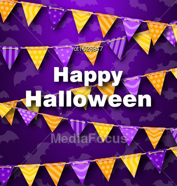 Illustration Colorful Hanging For Triangular String Halloween Party - Vector Stock Photo