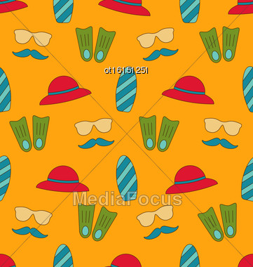 Illustration Colorful Old Seamless Texture With Summer Beach Objects - Vector Stock Photo